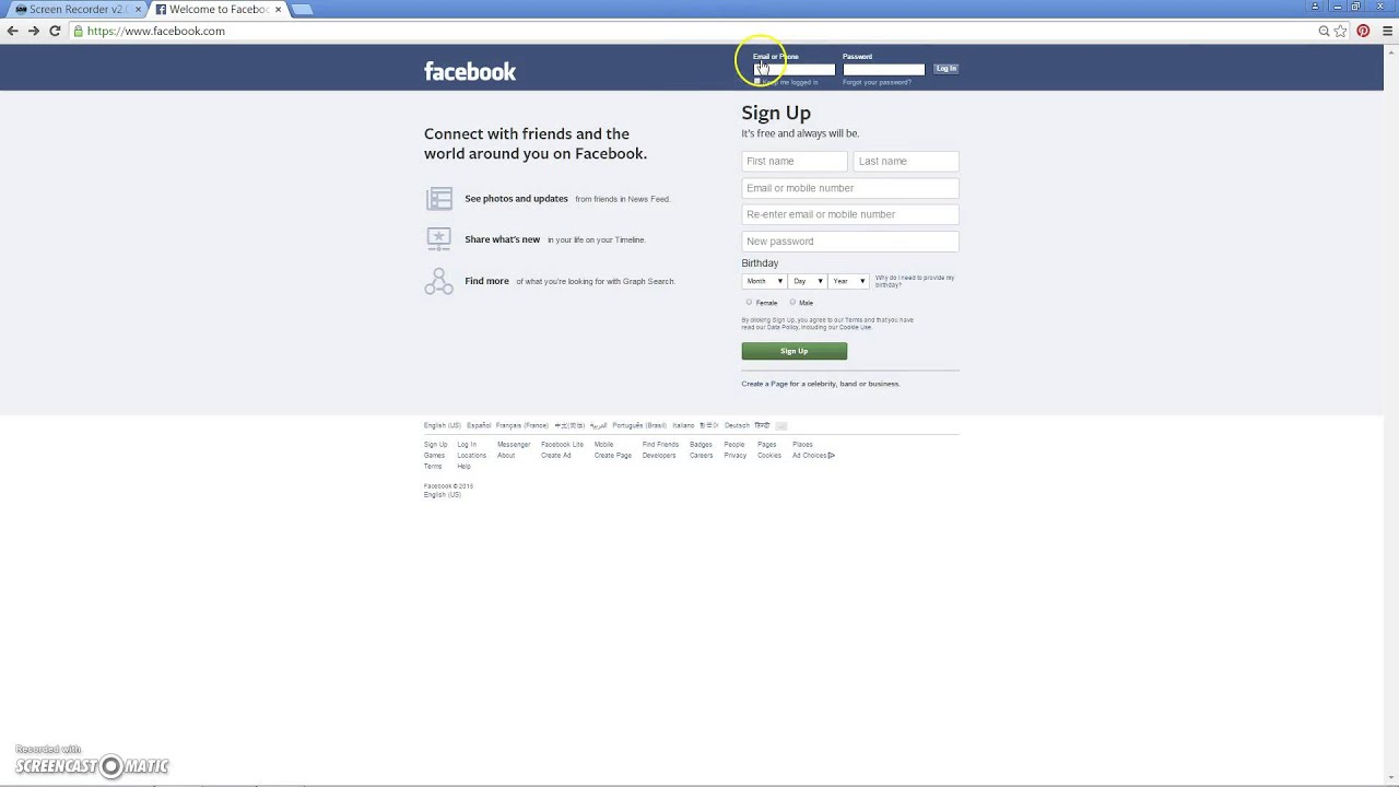 www facebook com log in mobile
