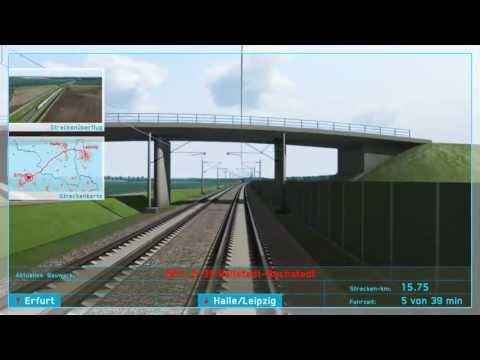 VDE 8.2 NEUBAUSTRECKE: 3D-Simulation Führerstandsfahrt von Erfurt nach Leipzig