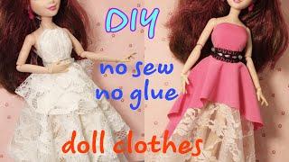 👗Doll dress making easy no sew no glue   HAPPY DOLLS   #barbie #dolls #clothes