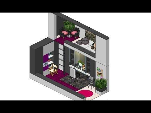 Habbo habitaci n moderna de chica youtube for Casa moderna habbo