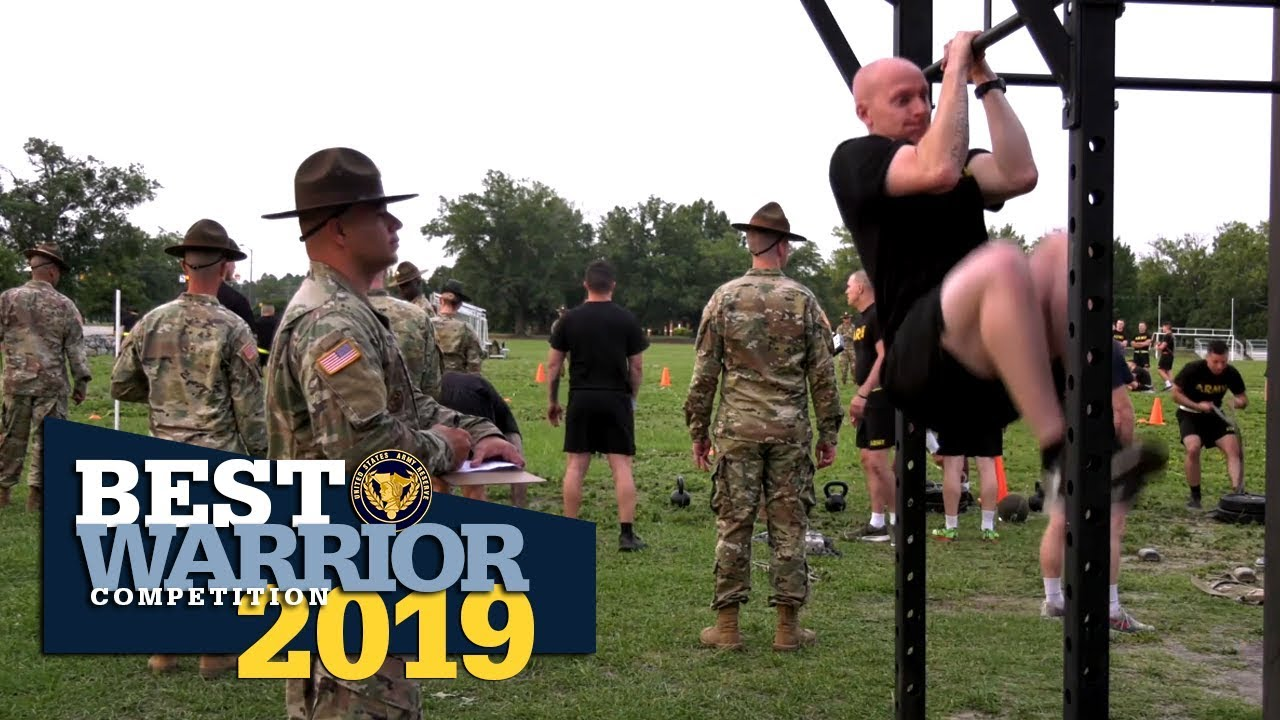 Soldiers competing in the 2019 U.S. Army Reserve Best Warrior Competition went through the new Army Combat Fitness Test, as well as events for the German Armed Forces Proficiency Badge.