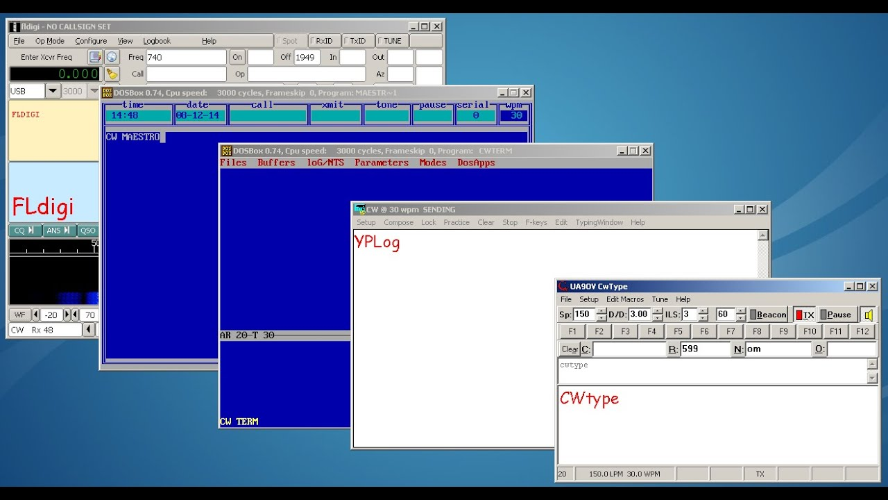 SOFTWARE CW KEYBOARDs - review of 5 morse code programs
