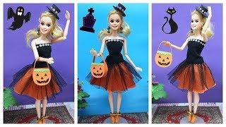 Hóa trang Halloween cho búp bê: may váy, làm cài tóc, túi bí ngô, giày, bông tai Ami DIY