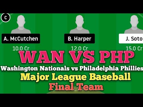 Download WAN vs PHP Dream11 Baseball Match.Washington National vs Philadelphia Phillie. Major League Baseball