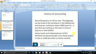 History and branches of Accounting
