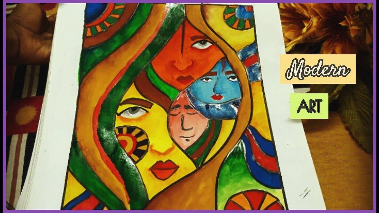 Modern Art Using Camlin Poster Colours Easy Beautiful