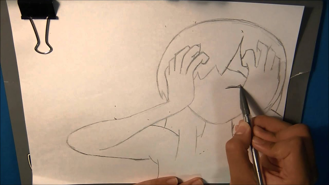 Drawing sketch crying anime girl