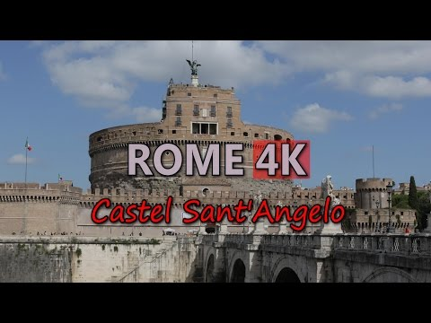 Ultra HD 4K Rome Castel Sant Angelo Video Stock Footage Italy Travel Tourism Sightseeing Attractions