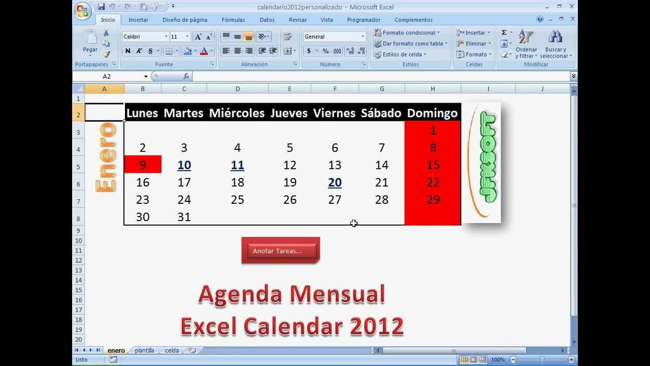 Cómo crear un Calendario excel 2013 con agenda incorporada - YouTube