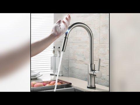 Stainless Steel Modern Pull Down Sensor Kitchen Faucet