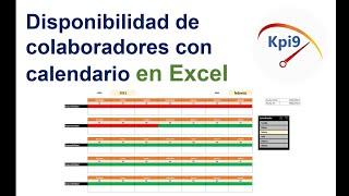 Disponibilidad de colaboradores con calendario en Excel