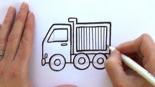 How to Draw a Cartoon Dump Truck