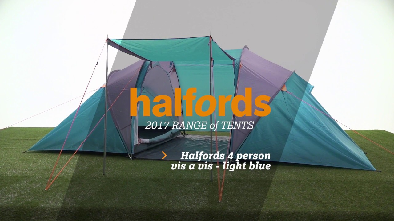 Halfords 4 Person Tunnel Tent - Light Blue & Halfords 4 Person Tunnel Tent - Light Blue - YouTube