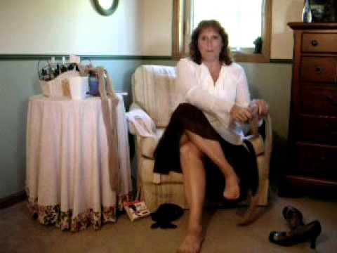 Wife putting on pantyhose