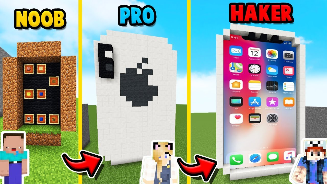 MINECRAFT - IPHONE CHALLENGE | NOOB vs PRO vs HAKER | Vito vs Bella