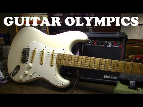 GUITAR OLYMPICS: $9 Thrift Store Axe Setup, Ultimate Speed Restring Challenge, Intonation & MORE!