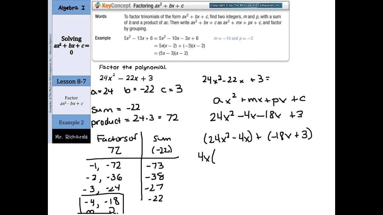 Solving Ax 2 Bx C 0