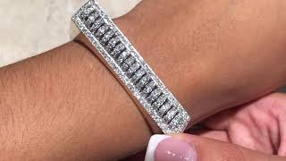 Open Cuff Diamond Bracelet 18k White Gold Women's Jewelry - 51.5
