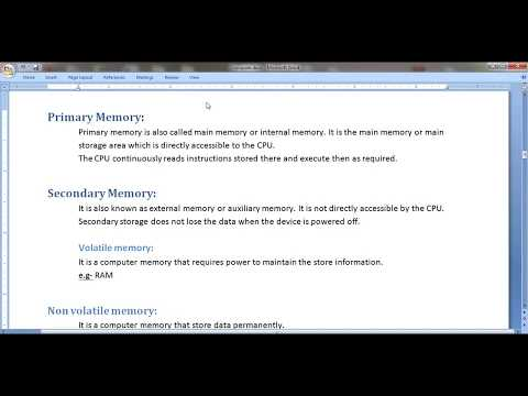 What Is Primary Memory, Secondary Memory, Volatile , Non Volatile, RAM & ROM Memory