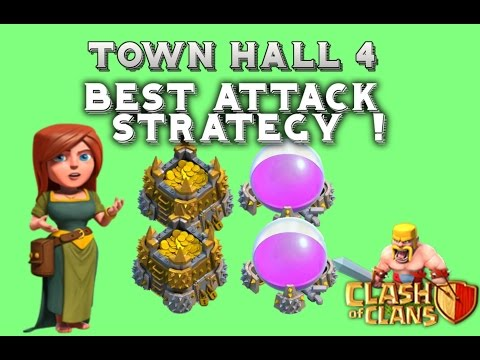 Clash Of Clans | BEST ATTACK STRATEGY TOWN HALL 4 - DESTROYING BASES !