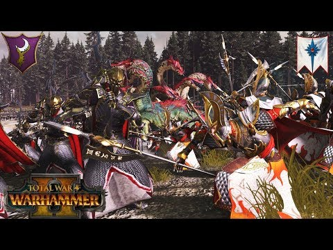 Dark Elves vs. High Elves 2v2 Faction War - Total War Warhammer 2 Multiplayer Battle