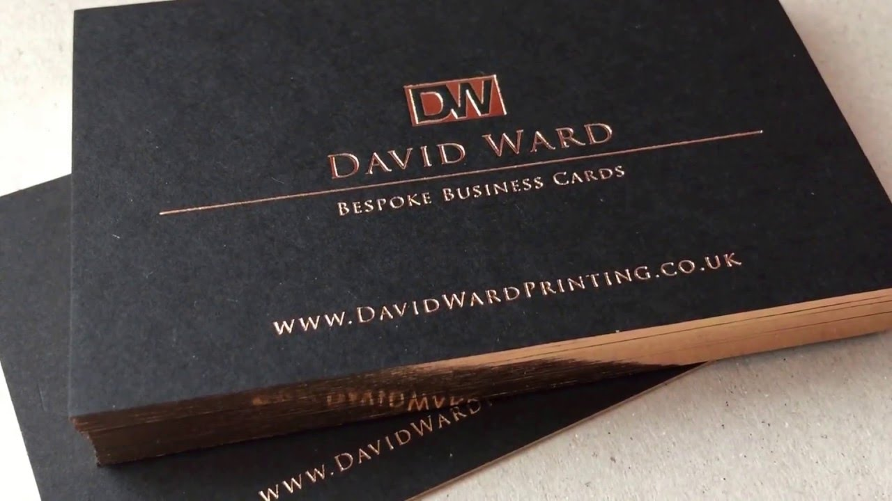 Gilt edged business cards bespoke letterpress with rose gold foil
