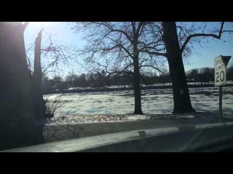 The Delaware River frozen