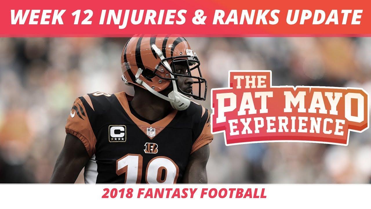 2018 Fantasy Football Updated Week 12 Rankings Nfl Injury Report