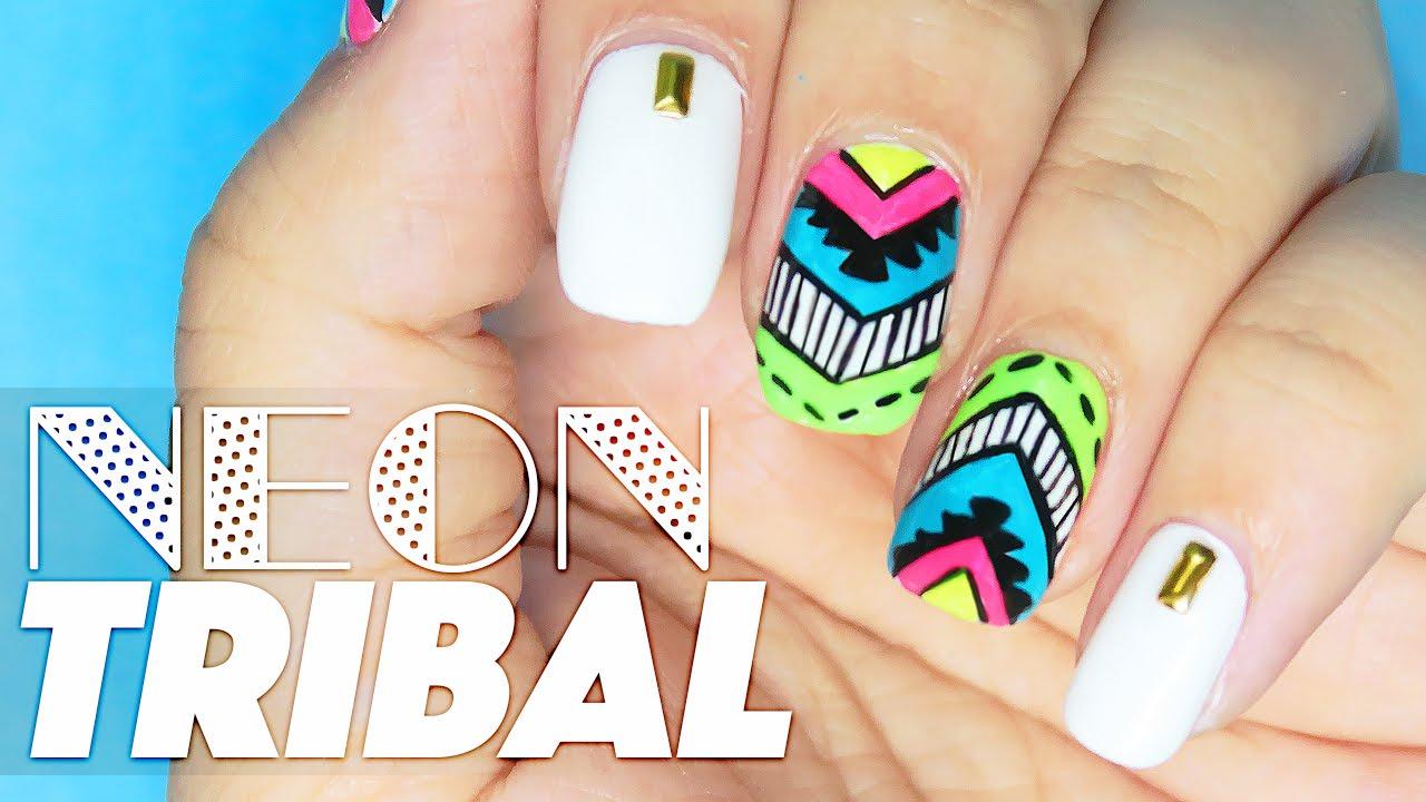 Neon Tribal Nail Art Tutorial // Nail Art at Home - YouTube