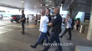 USA customs and LAPD work hand and hand to arrest alleged criminal at LAX