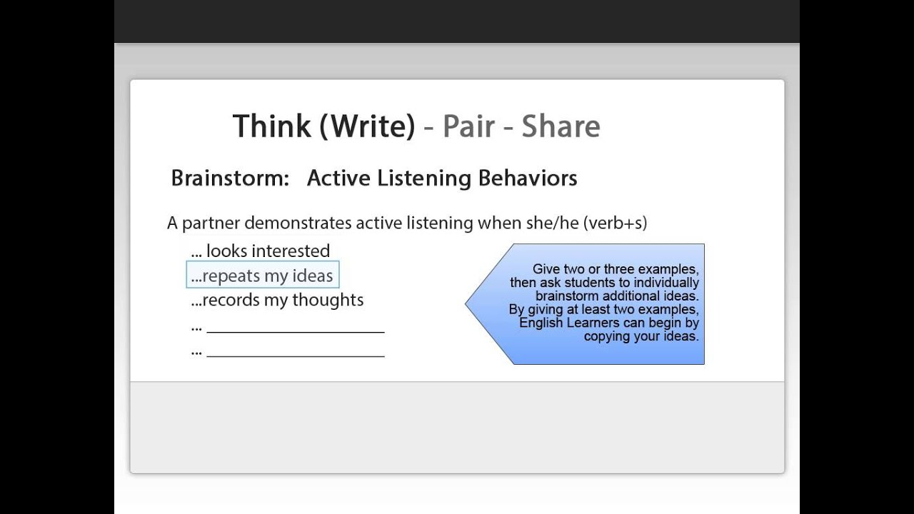 finding the effects of think pair In this lesson, we'll learn about the think-pair-share teaching strategy and how to   this segment allows students that may be struggling to find a starting point or.