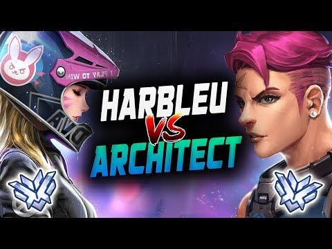 Architect Korean DVa VS Harbleu Insane Zarya! [ OVERWATCH SEASON 14 TOP 500 ] thumbnail