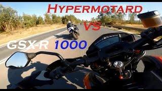suzuki gsxr 1000 k7 vs ducati hypermotard 821 sp   wheelies