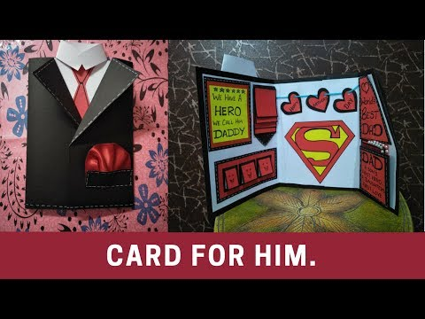 how to make birthday card for fathers \brother| how to make suit tuxedo card\card for him