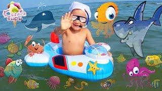 VLOG: Едем на райский пляж на Черном море. Девочка Ксюша Купается с надувным кругом. Игры для детей