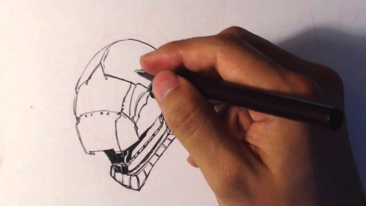 Drawing A Sci Fi Helmet Draw Fantasy Art 1 Youtube