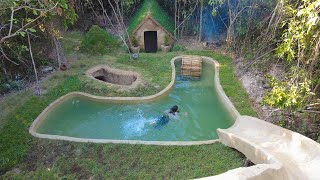 Girl build The Most Beautiful Underground Swimming Pool around Underground House