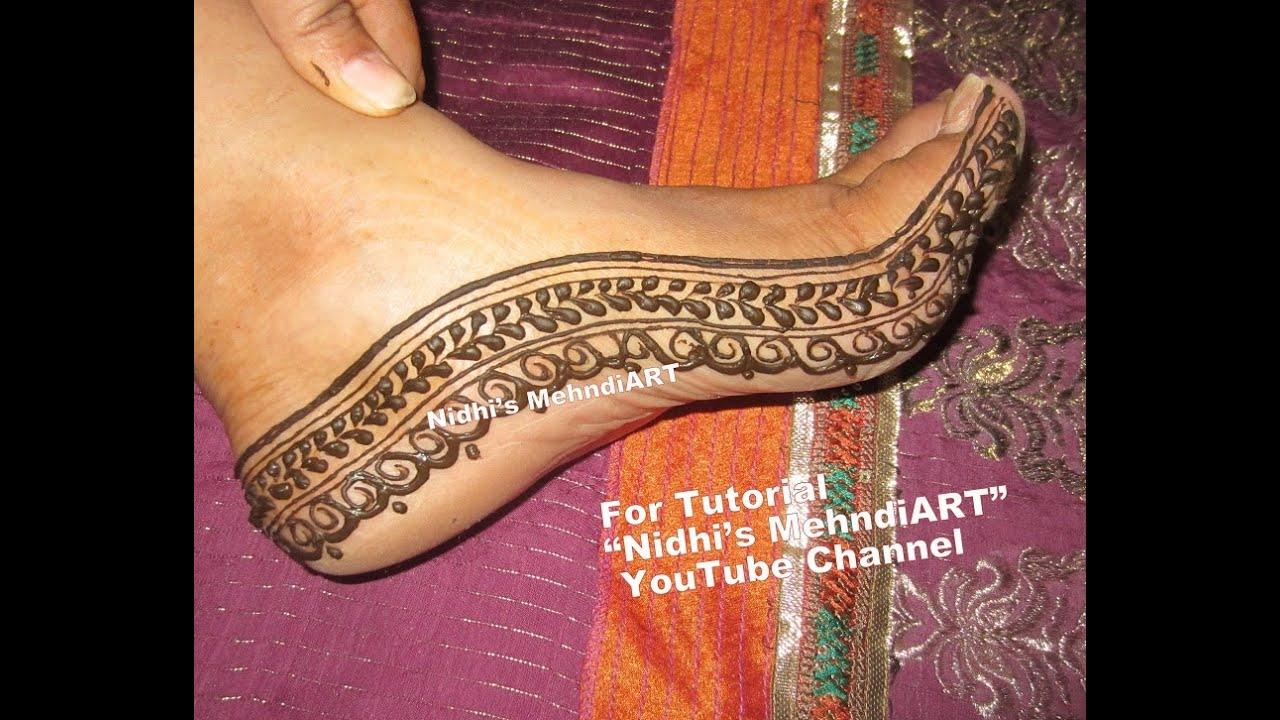 Henna Mehndi S : Quick feet border henna mehndi design tutorial for beginners youtube