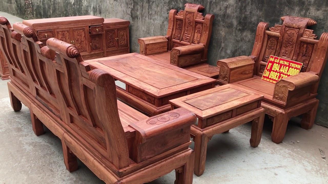 Bàn ghế phòng khách+kệ tivi gỗ hương đá víp siêu dày  0944490000 0983735596 0924490000