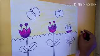 #easy drawing of garden scene for kids