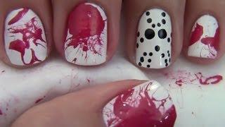 Jason Mask Nail Art: Halloween Nails