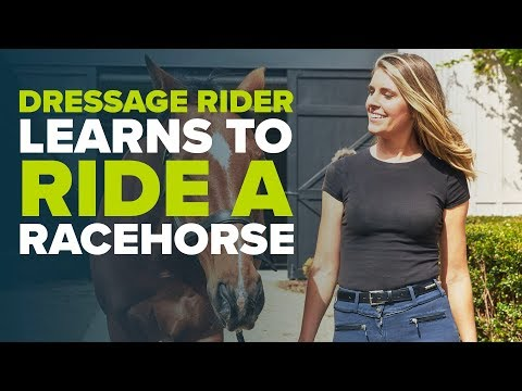DRESSAGE RIDER TRIES HORSE RACING FOR THE FIRST TIME