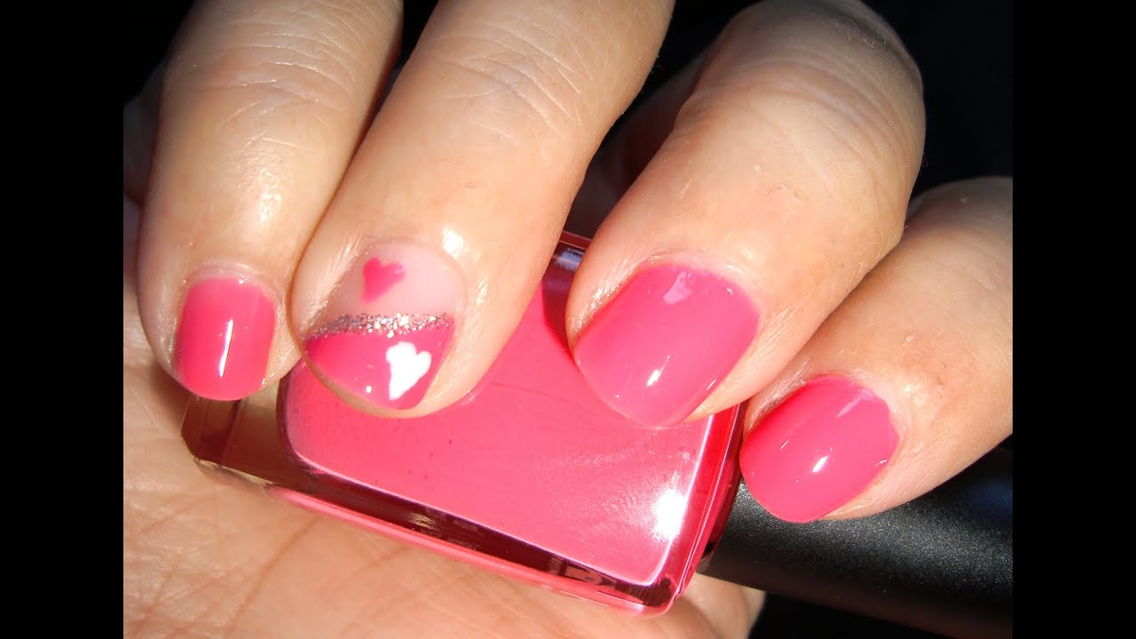 Tutorial uñas cortas: corazón rosa / Short nails tutorial: pink ...