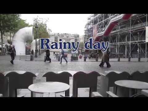 Rainy paris, Centre Pompidou, cafe beaubourg