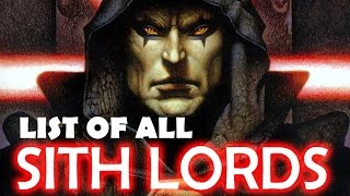 List of all Dark Lords of the Sith