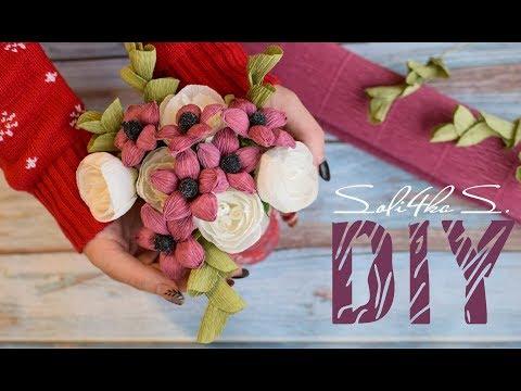 DIY soli4ka_s Квіти з гофропаперу/ цветочки с гофробумаги/ crep paper flowers
