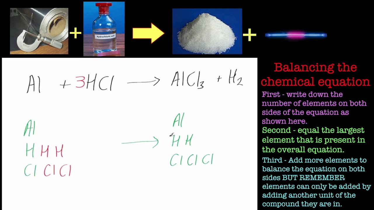Balancing Chemical Equations Part 1 Aluminium And Hydrochloric