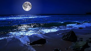 Gambar cover Fall Asleep On A Full Moon Night With Calming Wave Sounds - 9 Hours of Deep Sleeping on Mareta Beach