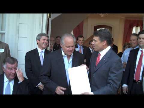 Governor Rick Perry Names Rush Limbaugh Honorary Texan