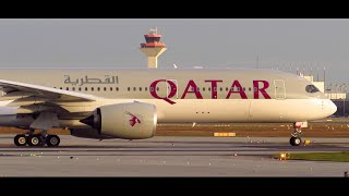 First Qatar Airways Airbus A350 Take-Off at Frankfurt Airport
